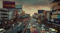 GIMBAL Moving,Traffic in Bangkok at Twilight