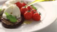CU PAN Mozzarella salad on serving plate / London, United Kingdom