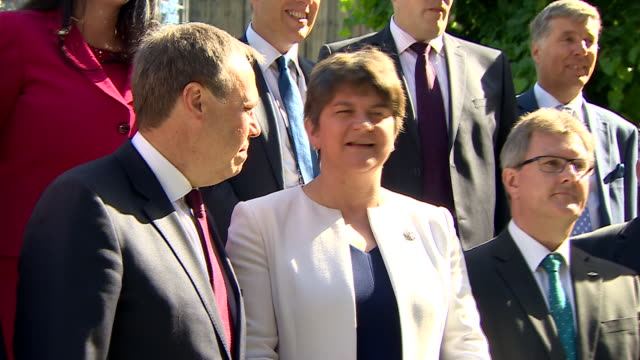 DUP MP's posing for photographs in Westminster after the ConservativeDUP deal was signed