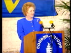Mrs Thatcher EEC speech in Belgium c Bruges Airport Margaret Thatcher down steps of RAF Super VC10 followed by officials INT Bruges College of Europe...