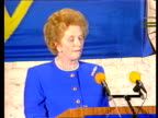 Mrs Thatcher EEC speech in Belgium ITN Bruges 'Cooperation between European personality' Border Post TCMS Identity papers being checked EXT MS...