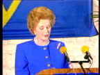 Mrs Thatcher EEC speech in Belgium ITN Bruges 'If we can't reform future development' 'It would be preach at home'