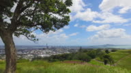 Mt Eden view of Auckland city and Rangitoto Island.