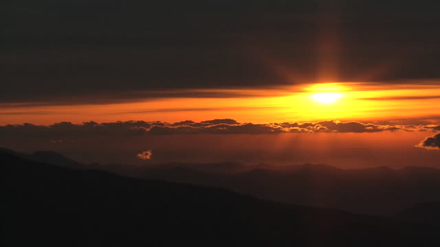 AERIAL, Mt Fuji And Sunrise On New Year's Day, Japan