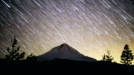 Mt. Hood Falling Star Trails Night Time Lapse with glow of Portland in Distance