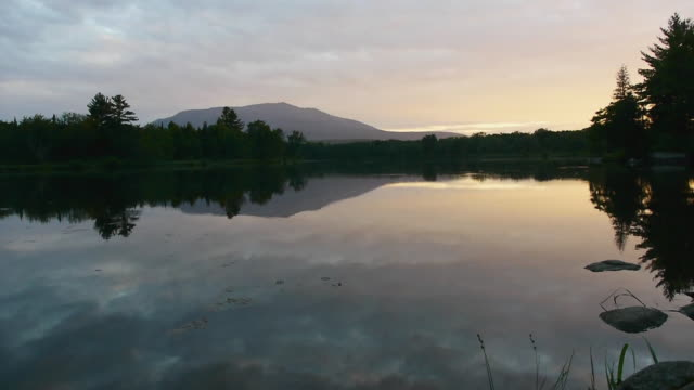 T/L WS Mt. Katahdin at sunrise, mirror reflections in lake, Spring, Maine Woods, Debsconeag Deadwater, Maine