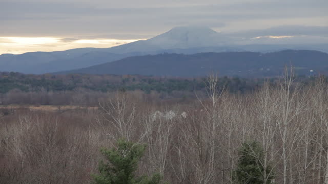 Mt. Mansfield in the snow with fog in Vermont.