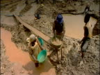 Mud is cleaned for gold by hand in mine eastern Democratic Republic of Congo