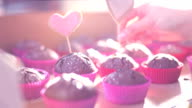 Muffins with hearts in sun