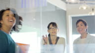 multi ethnic female office workers in meeting studying graph on glass partition