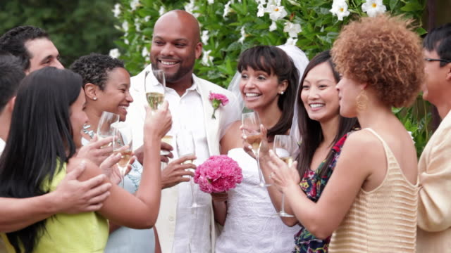 MS Multi Ethnic Group of Adults Toasting Newlywed Married Couple / Richmond, Virginia, USA