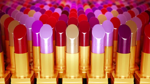 Multicolor lipsticks in a row. Loopable CG.