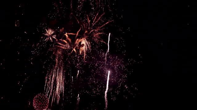 Multicolored defocused bokeh lights of exploding fireworks