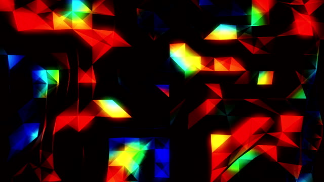 Multicolored funky abstract loopable  background footage with triangles