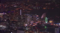 Multicolored lights illuminate Cosmo World in Yokohama City, Japan.
