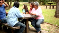 Multi-ethnic group of friends meet with senior adult woman. Park.