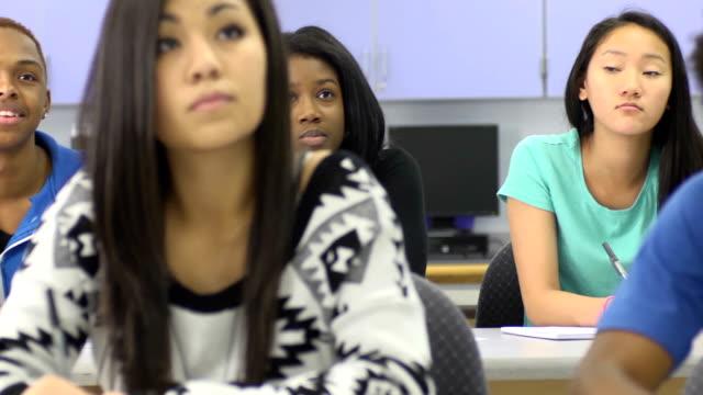 Multi-Ethnic Students in Classroom - rear focus