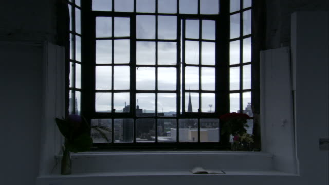 A multi-framed window provides ample light in one of the rooms at the Glasgow School of Art, Scotland. Available in HD.