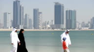 PANNING: Multi-generation Emirati family on the beach