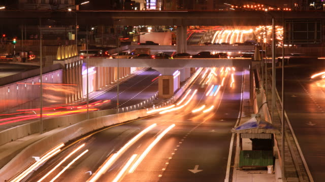 Multilevel city traffic Rush Hour Time lapse at night