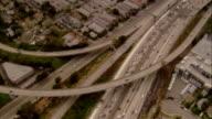 AERIAL multiple lane highway, Los Angeles, California, USA
