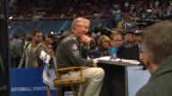 Multiple shots of Seattle Seahawks Head Coach Pete Carroll being interviewed at the Super Bowl Media Day at the Prudential Center in Newark New...
