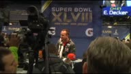 Multiple shots of the Denver Bronco's Quarterback Peyton Manning being interviewed at the Super Bowl Media Day at the Prudential Center in Newark New...
