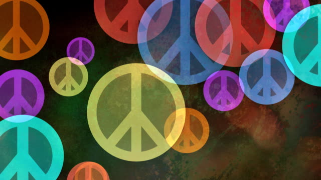 Multiple versions (3) Colorful Backgrounds Made from Peace Symbols