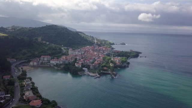 Mundaca coastal village Aerial view in the Basque Country