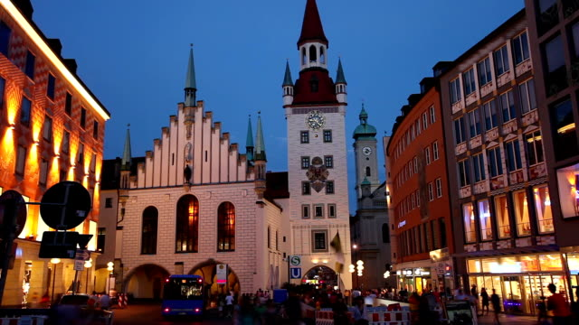 Munich by night with Old Town Hall