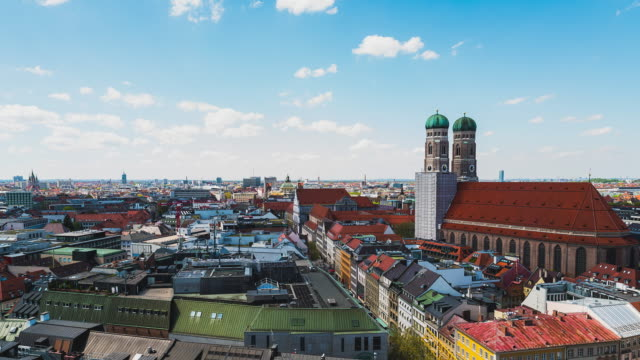 T/L of Munich's Frauenkirche of an elevated viewpoint on a beautiful sunny day