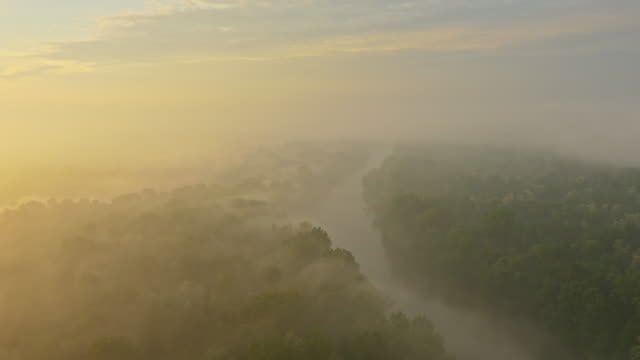 AERIAL Mur river in the morning fog