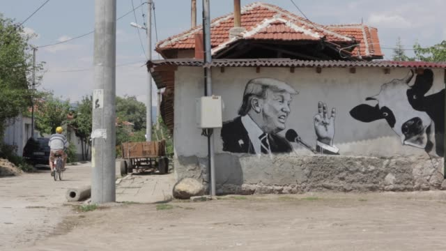 Mural depicting US President Donald Trump is seen on a wall as part of Mural Festival in the village of Staro Zhelezare Bulgaria Wednesday 26 July...
