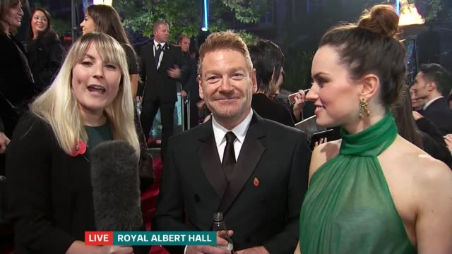 'Murder on the Orient Express' film launch ENGLAND London Royal Albert Hall Sir Kenneth Branagh LIVE red carpet interview SOT LIVE Reporter to camera