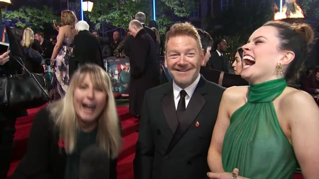 'Murder on the Orient Express' film launch ENGLAND London Royal Albert Hall Reporter to camera Sir Kenneth Branagh LIVE red carpet interview SOT...