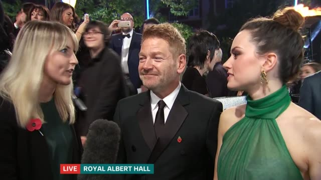'Murder on the Orient Express' film launch ENGLAND London Royal Albert Hall Sir Kenneth Branagh LIVE red carpet interview SOT Daisy Ridley LIVE red...