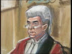Murderer sentenced to death ISLE OF MAN Douglas BV Tony Teare out of van with police as covered with blanket amp into court PAN SKETCH Court scenes...