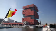 WS Museum aan de Strom and Belgian flags / Antwerp, Flanders, Belgium