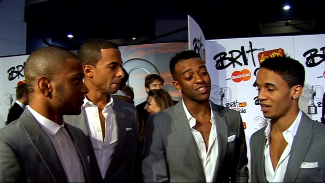2010 Brit Awards red carpet arrivals JLS boyband interview SOT On their nominations / dream come true / the Brits / Robbie Williams / their Armani...