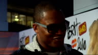2010 Brit Awards red carpet arrivals Taio Cruz speaking to press / Daniel Merriweather interview SOT On hopes for winning / memories of the Brits /...