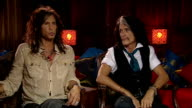 'Aerosmith' interview ENGLAND London INT Steve Tyler and Joe Perry interview SOT on the album and why its taken so long on being back in the studio...