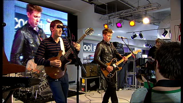Bob Hardy and Alex Kapranos interview / Franz Ferdinand perform Members of band Franz Ferdinand onto stage / Franz Ferdinand performing songs from...