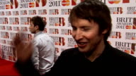 Brit Awards 2011 celebrity arrivals James Blunt interview SOT On his outfit and shoes says he learnt to polish them in the army / looking forward to...