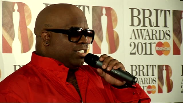 Brit Awards 2011 winner interviews Cee Lo Green press conference SOT On being excited to win / being in the mood for love / loving Mumford Sons wants...