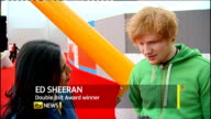 Brit Awards 2012 Adele wins Album of the Year Ed Sheeran interview SOT Reporter to camera