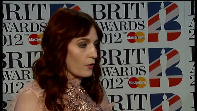 Brit Awards 2012 Adele wins Album of the Year ENGLAND London 02 Arena INT Ed Sheeran interview SOT is incredible and down to earth Florence Welch...