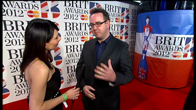 Brit Awards 2012 Adele wins Album of the Year ENGLAND London 02 Arena PHOTOGRAPHY*** Martin Talbot LIVE interview SOT amazing year for Adele / she...