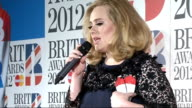 Brit Awards 2012 Winners room press conference Adele press conference SOT / Ed Sheeran press conference SOT