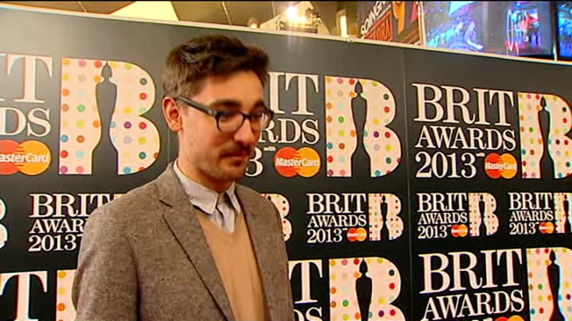 Brit Awards 2013 ENGLAND London O2 Arena INT Gus UngerHamilton LIVE interview SOT to think our music is crossing over to a Brits audience is...