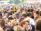 Isle of Wight Festival 2007 backstage photocalls and interviews General views crowds of festival goers drinking beers funny hats dancing / Vox pops